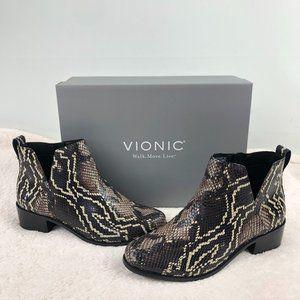 Vionic Clara Ankle V-Cut Bootie Black Boa Leather